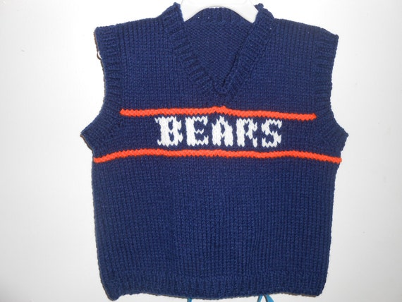 Hand Knit MADE TO ORDER Bears Child Knitted Sweater Vest