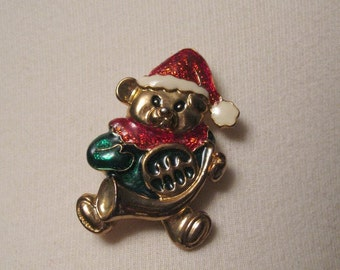 Vintage Enameled Christmas Teddy Bear Pin