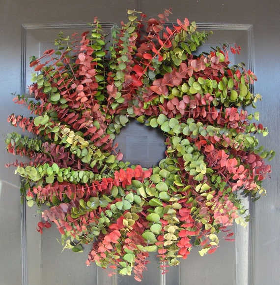 Preserved Eucalyptus 20 Inch Christmas Wreath, Eucalyptus Wreath Personalized Custom Color Combination