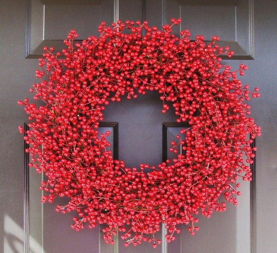 Christmas Wreath, Winter Berry Chistmas Wreath, Valentine's Day Wreath, Valentine Decor, Year Round Wreath, ALL WEATHER Berry Wreath