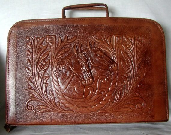Fabulous Horse Motif Hand Tooled  Vintage Briefcase