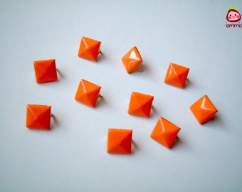 Orange Square Studs, Leather Craft Studs, set of 10, pin, button, bead, silver, jaws, fang, rock, punk, metal, aluminium, girl