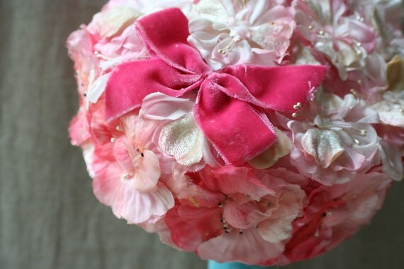 DO NOT BUY- Reserved for M.-   Vintage Floral Pillbox Hat Flowered Pink Roses Millinery Flowers Costume Harajuku