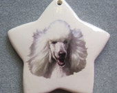 WHITE POODLE dog, star ceramic ornament, free personalizing 22k gold by Nicole