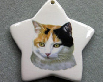 Calico cat star ornament, free personalizing 22k gold by Nicole