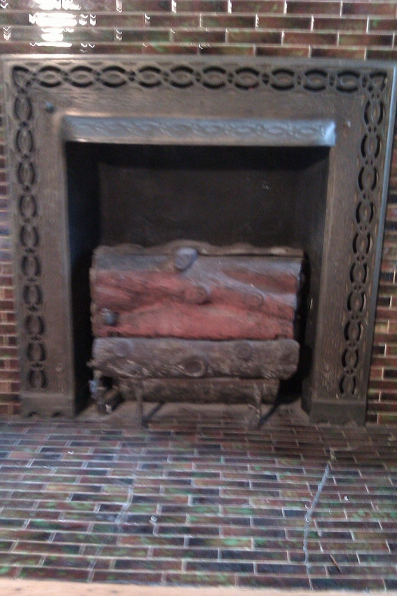 Items similar to victorian cast iron gas fireplace logs insert ...