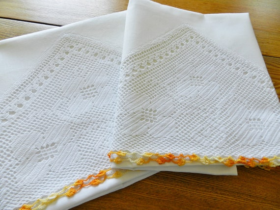 Vintage Cotton Wide Insert Crocheted Lace Pillowcases