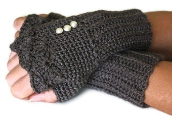 Smoky Grey Knit Fingerles Gloves