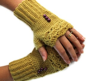 SPECIAL SALE - Mustard Knit Fingerles Gloves