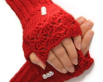 Red crochet Wool Fingerles Gloves-Christmas Gift