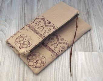 Linen Clutch, Fold Over Bag, Hand Printed Bag, Linen Bag, Clutch Purse, Block Printed in Brown