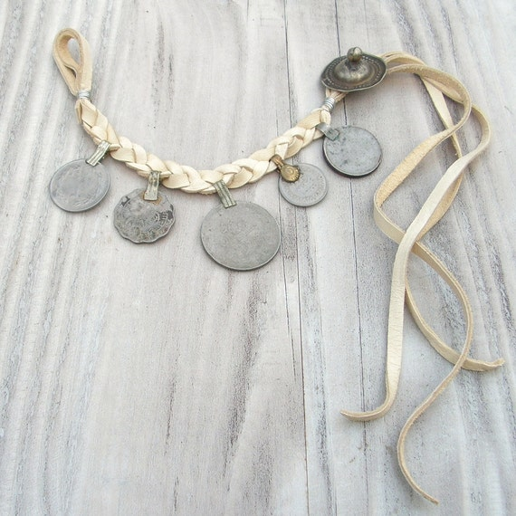 Gypsy Coin Bracelet, Buckskin Leather, Adjustable, Tribal Belly Dance Jewelry