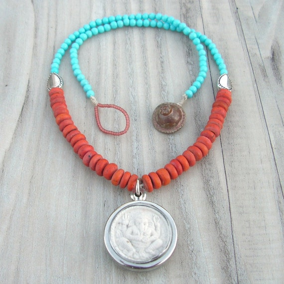 Ganesha Mala Necklace, Vintage Glass and Wood, Color Block, Turquoise and Coral