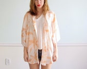 Palm Print 80s Slouchy Oversized Peachy Pink and White Layering Shirt L/XL