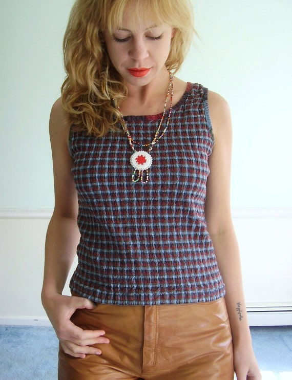 American Picker Vintage 80s Smocked Red and Blue Gingham Printed Tank Top S/M