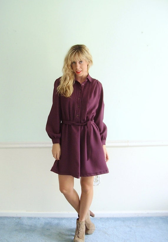 Plum Purple Secretary Dress - Vintage 70s - Long Sleeve - MEDIUM LARGE  M L