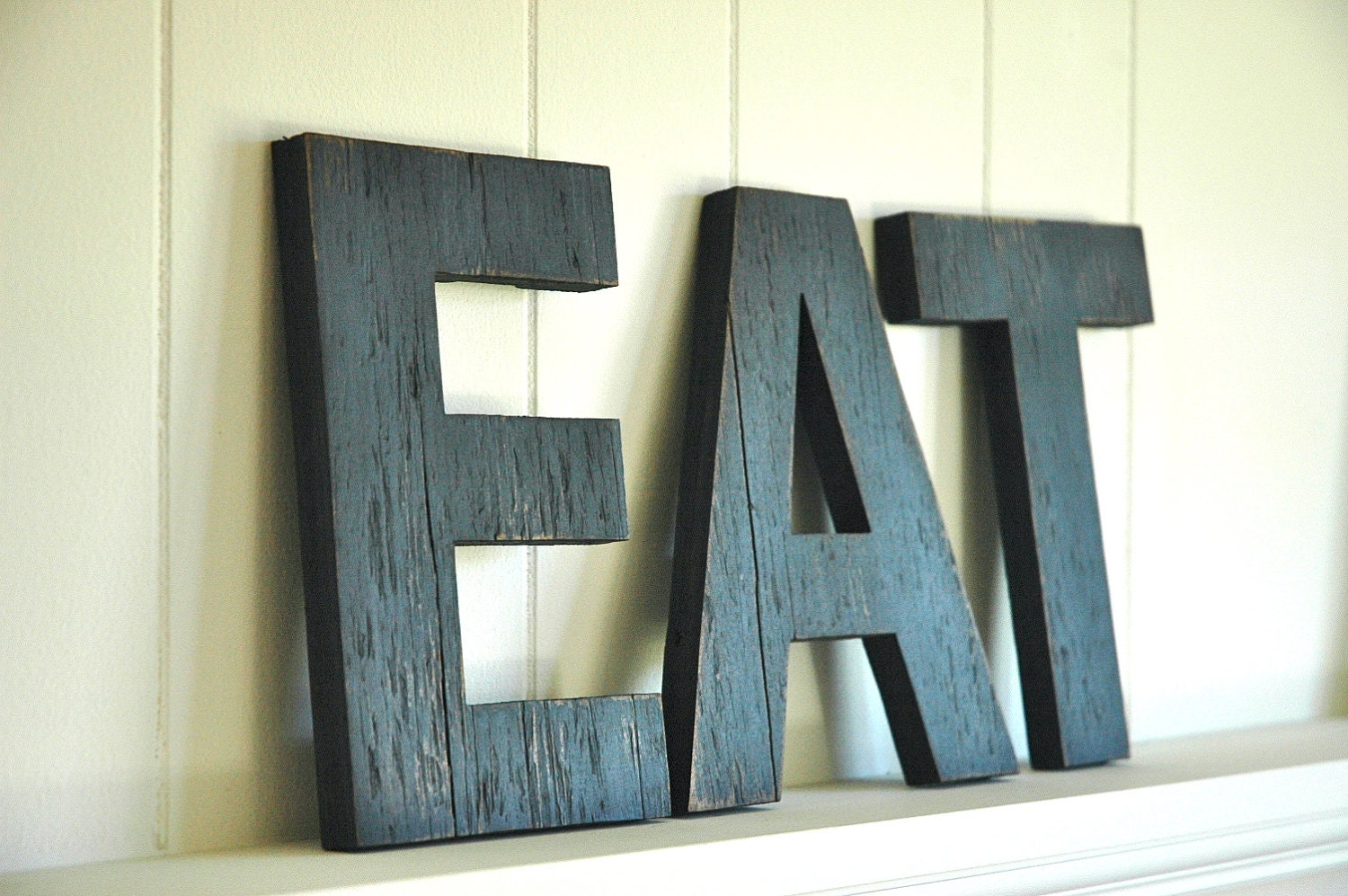 EAT Wall Art Large Letters Handmade Wood Sign by ShopHomegrown