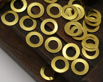 10mm Brass Connectors - 100 Raw Brass Ring Connectors (10mm) Brs 296 A0184