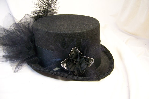 OOAK Victorian steam punk riding hat full size TOP HAT cosplay Costume All black
