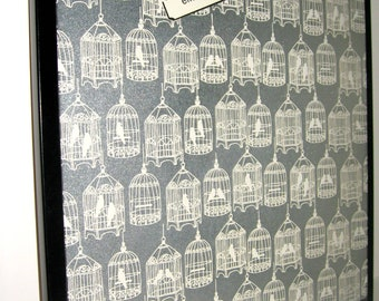 Birdcage.. Magnet Dry Erase Memo Board / Host Gift / Office Decor / Dorm Decor / School /Organization / Desk / Message Board /Bulletin Board