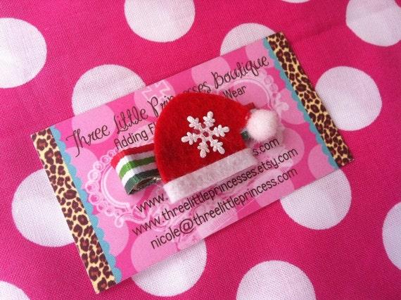 Santa Hat Hair Clip--Ready to Ship