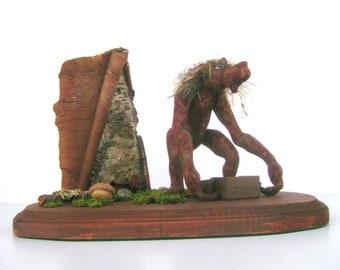 Mixed media, soft sculpture, table or desk sized fantasy sculpture, fairy garden