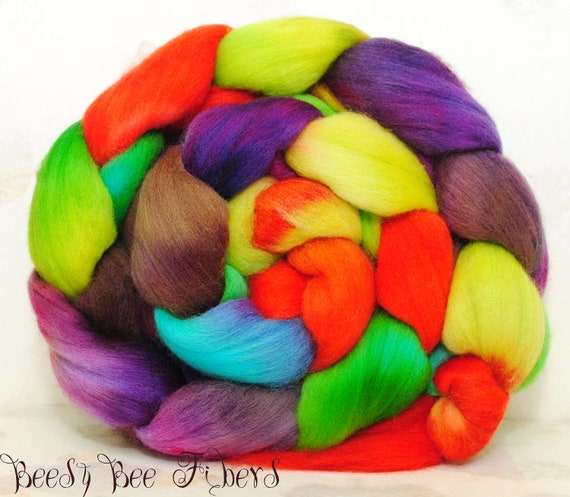 POLWARTH combed top, wool roving, spinning fiber, hand painted roving - 4.2 oz - CIRCUS