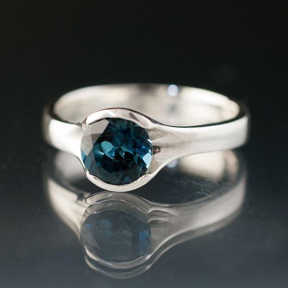 Reserved for M, London Blue Topaz Sterling Silver Ring Fold Gemstone Ring