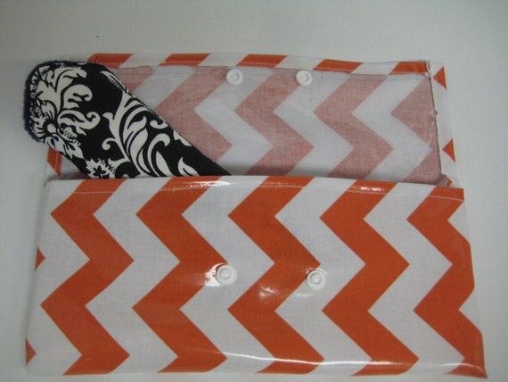 Orange and White Chevron Wet Bag - Specially Designed for Cloth Menstrual Pads