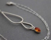 Sterling silver necklace - Amber - 'Peaceful Waterfall'