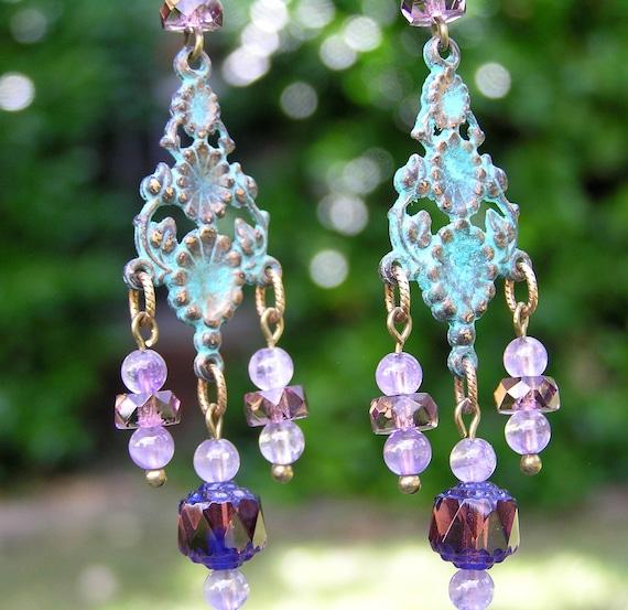 Antiqued Chandelier Earrings with Amethyst Beads, Metal Earrings, Spring Jewelry, Green Jewelry, Pastel Jewelry, Verdigris Jewelry