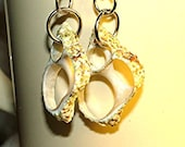 SALE Cut Seashell Earrings, Pierced, Dangle,, Black Friday, Cyber Monday