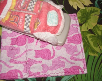 Diaper clutch, diaper and wipes case, pink pretty kitty paisley