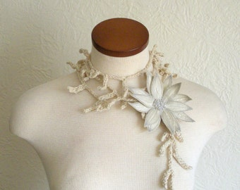 Cream Lotus Flower with Cream Lariat Scarf- Fiber Art Scarf- Embroidered Silk Flower Lily Clip with Crochet Scarflette