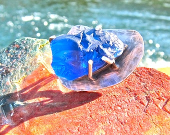 Blue Sea Glass Ring, Sapphire  Blue Glass,  Heavy Prongs Sterling Silver, Handmade OOAK