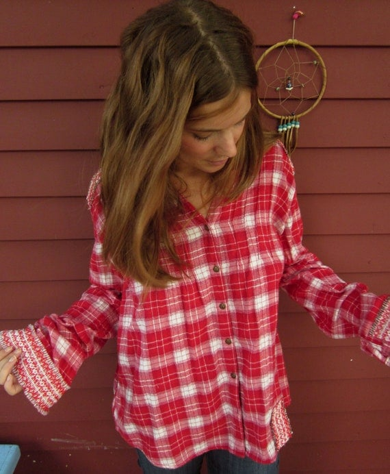 In The Plaid Crochet Cut Out Back Upcycled Clothing Button Up Shirt Blouse with Vintage Trim Size XLarge by MountainGirlClothing