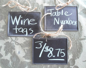 chalkboard tags, wine accessories, gift tags, wedding table markers, table numbers, hostess gift, chalkboard signs, hang tags