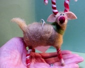Candycane Reindeer Felted Wool Ornament