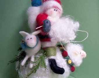 Ewe and Santa Felted Wool Ornament