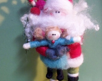 Santa and Baby Doll Felted Wool Ornament/Figurine