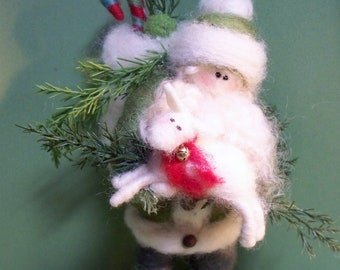 Irish Santa Felted Wool Santa  Ornament/Figurine