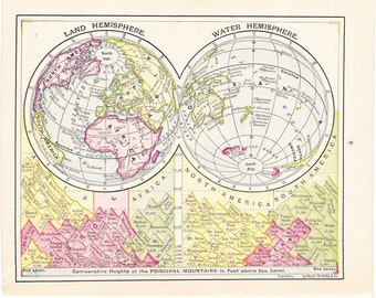 1908 World Map Land Water Hemisphere - Vintage Antique Map Great for Framing 100 Years Old