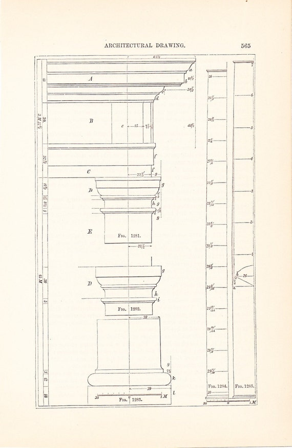 1885 technical drawing column antique math geometric drafting 1885 technical drawing column antique math geometric drafting interior design blueprint art illustration framing 100 years old from holcroft on etsy malvernweather Image collections