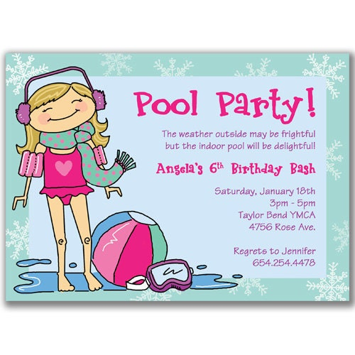 winter pool party invitations for girls birthday party by milelj