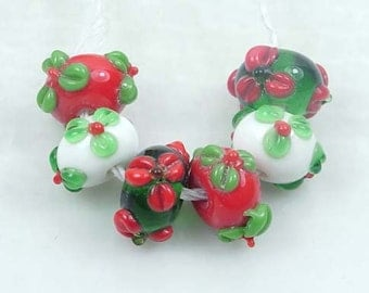 Lampwork Glass Rondelle Beads Christmas Color I (6 pc) (L626)