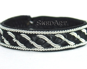 SwedArt B04 Bear Lapland Sami Leather Bracelet Pewter and Silver Braid Antler Button Black X-LARGE