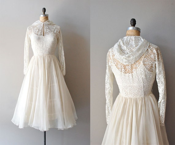 1940s wedding dress / lace 40s dress / Veiled Lace dress