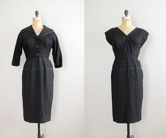 1950s dress / black eyelet 50s dress / dress and jacket