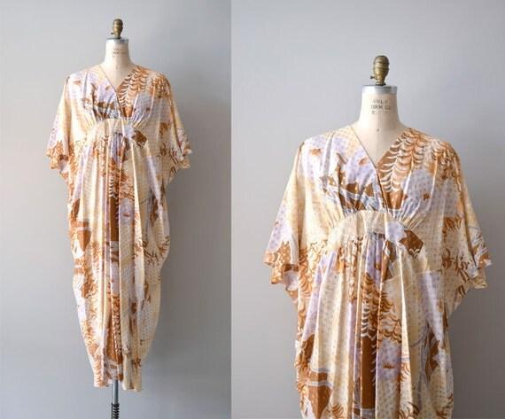 S A L E ...1970s caftan / floral caftan 70s dress / Gilt and Light dress