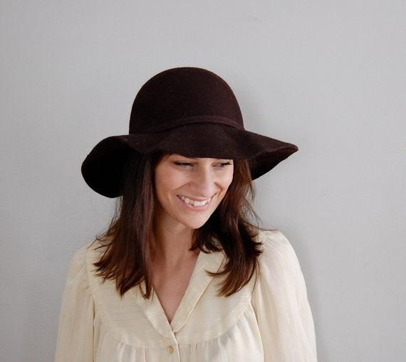 1970s floppy hat / felted wide brim hat / Dark Chocolate hat